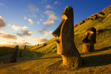 CL02180 South America, Chile, Rapa Nui, Easter Island, giant monolithic stone Maoi statues at Rano Raraku