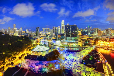South East Asia, Singapore, Elevated view over the Entertainment district of Clarke Quay, the Singapore river and City Skyline