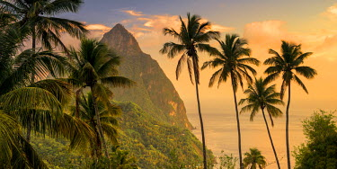 ST01081 Caribbean, St Lucia, Petit (near) and Gros Piton Mountains (UNESCO World Heritage Site)