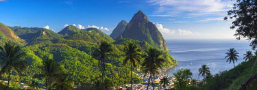ST01085 Caribbean, St Lucia, Petit (near) and Gros Piton Mountains (UNESCO World Heritage Site) above town of Soufriere