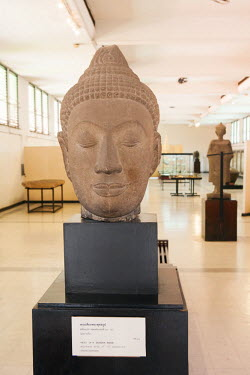 THA0626AW South East Asia, Thailand, Bangkok, National Museum, 13th to 14th Century Ayutthaya style Buddha image head in the National Museum