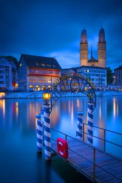 CH03572 River Limmat and Grossmunster church, Zurich, Switzerland
