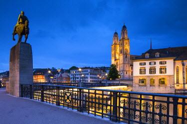 CH03573 River Limmat and Grossmunster church, Zurich, Switzerland