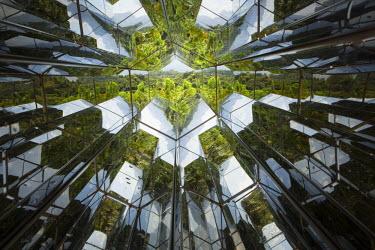 BRA1865AW South America, Brazil, Minas Gerais state, Belo Horizonte. Inhotim Center of Contemporary Art; view through Olafur Eliasson's Viewing Machine