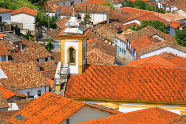 BRA1875AW South America, Brazil, Minas Gerais state, Ouro Preto, general view of colonial buildings in the town center