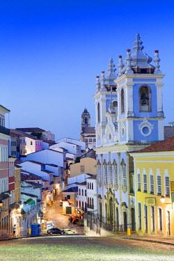 BRA1884AW South America, Brazil, Bahia, Salvador, historical centre, a view of the Church of Our Lady of the Rosary of Black People (Igreja de Nossa Senhora do Rosario dos Pretos) and Portuguese colonial houses...