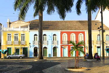 BRA1887AW South America, Brazil, Bahia, Salvador, historical centre, a view of brightly painted colonial Portuguese town houses on the Terreiro de Jesus square in the Unesco protected colonial centre of Salvado...
