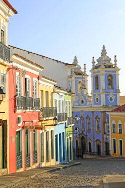 BRA1888AW South America, Brazil, Bahia, Salvador, historical centre, a view of the Church of Our Lady of the Rosary of Black People (Igreja de Nossa Senhora do Rosario dos Pretos) and Portuguese colonial houses...