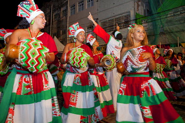 BRA1902AW South America, Brazil, Pernambuco, Recife, carnival, maracatu nations drumming at the Noite dos Tambores Silenciosos candomble celebrations at the patio do terco