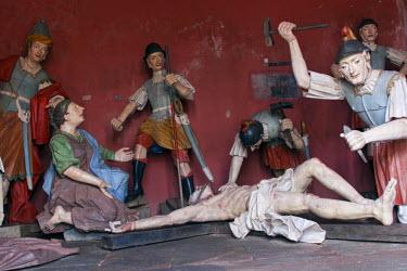 BRA1925AW South America, Brazil, Minas Gerais state, Congonhas, sculptures by Aleijadinho in the stations of the cross chapels of the Basilica Santuario do Bom Jesus de Matosinhos church