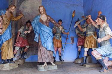 BRA1926AW South America, Brazil, Minas Gerais state, Congonhas, sculptures by Aleijadinho in the stations of the cross chapels of the Basilica Santuario do Bom Jesus de Matosinhos church