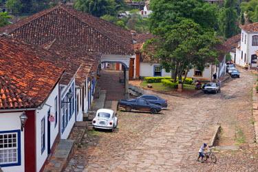 BRA1929AW South America, Brazil, Minas Gerais state, Tiradentes, colonial houses in the town centre of Tiradentes
