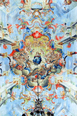 BRA1935AW South America, Brazil, Minas Gerais state, Ouro Preto, church of St Francis of Assisi, ceiling painting of the ascension of the Madonna by Manuel da Costa Ataide, Mestre Ataide