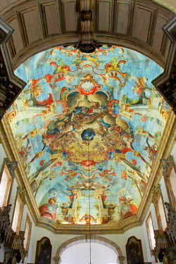 BRA1938AW South America, Brazil, Minas Gerais state, Ouro Preto, church of St Francis of Assisi, ceiling painting of the ascension of the Madonna by Manuel da Costa Ataide, Mestre Ataide