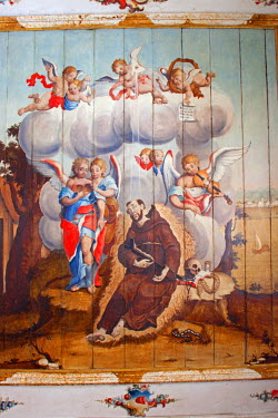 BRA1953AW South America, Brazil, Minas Gerais state, Mariana, church of St Francis of Assisi, ceiling painting of St. Francis by Manuel da Costa Ataide, Mestre Ataide