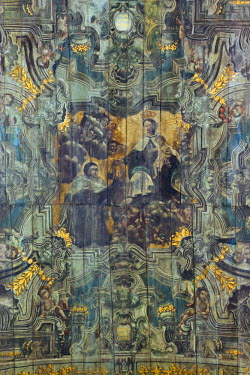 BRA1961AW South America, Brazil, Minas Gerais state, Diamantina, church of Our Lady of Carmel (Nossa Senhora do Carmo), a ceiling painting by Jose Soares de Araujo depicting St Simon Stock, founder of the Third...