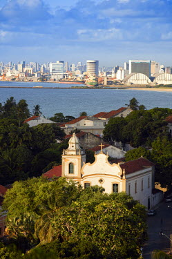 BRA1986AW South America, Brazil, Pernambuco, Olinda & Recife, view of Olinda (foreground) and Recife (behind) showing the 18th Century portuguese baroque church of St. Peter the Apostle (Igreja de Sao Pedro Apo...
