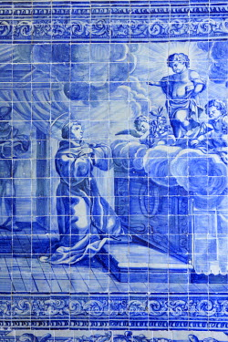 BRA1991AW South America, Brazil, Pernambuco, Olinda, azulejo painted tiles showing a scene from the life of Saint Francis in the Convent of Saint Francis