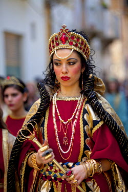 ITA2247 Italy, Sicily, Marsala. Holy week pageant in the historical centre of Trapani on Maundy Thursday or Giovedi Santo featuring the Biblical sudectress Salome from the old Testament
