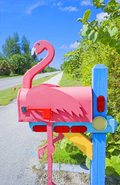 USA8740AW Flamingo made of wood attached to mailbox, Sanibel Island, Florida, USA