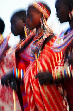 KN01073 Male Maasai dancers, Amboseli National Park, Kenya