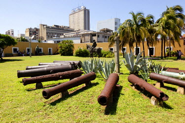AF30ALA0066 Africa, Mozambique, Maputo. Cannons in courtyard of the Old Fort.