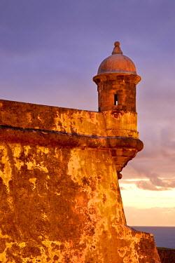 CA27BJN0002 Just before dawn at historic El Morro Fort, old San Juan, Puerto Rico.