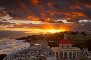 CA27BJN0003 Sunrise over historic Santa Maria Magdalena de Pazzis Cemetery in old San Juan, Puerto Rico.