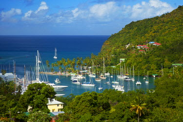 CA33BJN0001 The tiny harbor of Marigot Bay on the west coast of St. Lucia, West Indies.