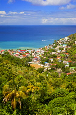 CA33BJN0008 View over the town of Canaries on the Caribbean island of St. Lucia, West Indies.