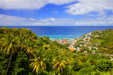 CA33BJN0009 View over Canaries on the Caribbean island of St. Lucia, West Indies.