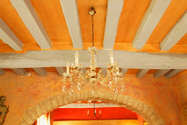 EU09AJE0087 Old world ceiling beams in French villa, Provence region of France