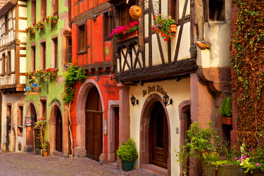 EU09BJN0428 Half-Timbered buildings on Rue du General de Gaulle in Riquewihr, along the Wine Route, Alsace, Haut-Rhin, France.