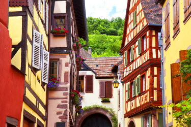 EU09BJN0478 Half-timbered homes along a street in Kaysersberg, along the Wine Route, Alsace Haut-Rhin, France.