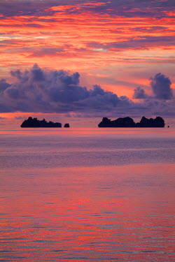 OC16MWT0003 Beautiful cloud formations at sunset in Republic of Palau, Micronesia.