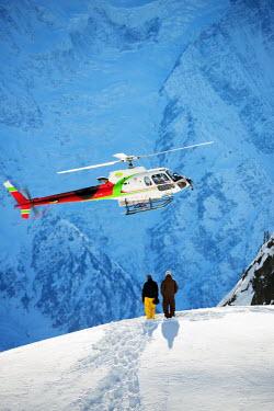 FRA7866 Europe, France, French Alps, Haute-Savoie, Chamonix, helicopter above Flegere ski area