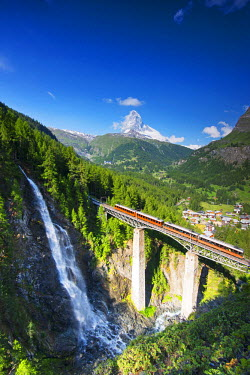 Europe, Valais, Swiss Alps, Switzerland, Zermatt, The Matterhorn (4478m), Gornergrat cog railway