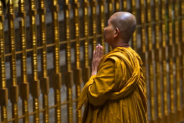 SRI1853AW Asia, Sri Lanka, Central Province, Kandy District, Kandy. A female Buddhist monk from Thailand prays at The Temple of The Tooth where The Sacred Relic of The Tooth of Buddha is housed in Kandy, the se...