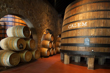 POR7370AW Europe, Portugal, Porto (Oporto), Port wine barrels in the warehouse of the Calem port distillery on the banks of the Douro river in the UNESCO World Heritage listed old city center