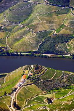 POR7377AW Europe, Portugal, Tras-os-Montes e Alto Douro, Douro Valley aerial view of vineyards and vineyard terraces and the Douro (Duero) river in the UNESCO World Heritage listed Alto Douro region