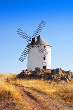 SPA5040AW Europe, Spain, Castile-La Mancha, Toledo, Ruta de Don Quijote (Don Quixote Route), Campo de Criptana, one of the windmills made famous by Cervantes in Don Quixote near Campo de Criptana