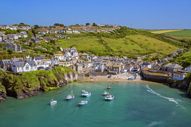 ENG11067 England,UK, Port Isaac, Cornwall. The harbour and picturesque village of Port Isaac situated on the North Cornish coast. The centre of the village dates from the 18th and 19th centuries.