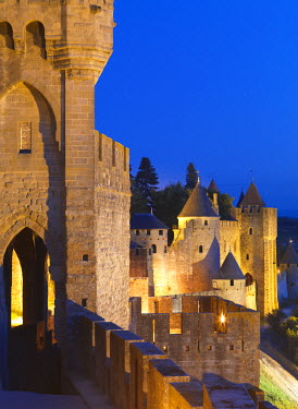 FRA7958AW France, Languedoc, Carcassonne, walled city at night