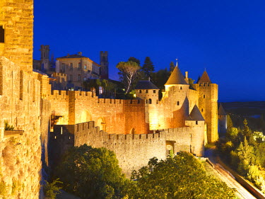 FRA7960AW France, Languedoc, Carcassonne, walled city at night