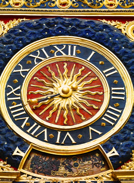 FRA7987AW France, Normandy, Rouen, Le Gros Horloge, close-up of clock