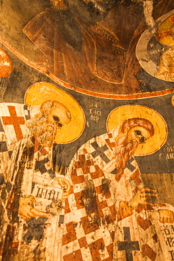 AL01135 Albania, Korca-area, Mborja, 14th century frescoes of the Holy Resurrection church