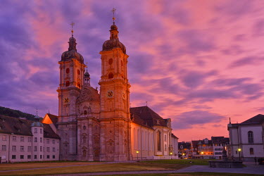 SWI7285AW UNESCO World Heritage Site, Cathedral of St.Gallen seen after sunset, Old City,Switzerland, Europe