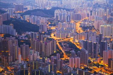 CH10112AW View of apartment blocks, Kowloon, Hong Kong