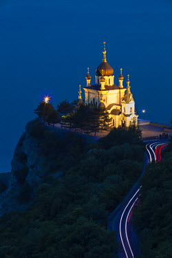 UA02205 Ukraine, Crimea, Foros, Foros church sitting on top of a cliff overlooking the Black Sea