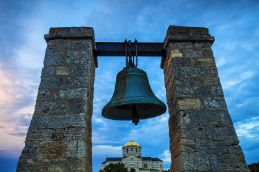 UA02247 Ukraine, Crimea, Sevastopol, Khersoness, Fog bell - which comes from a Crimean War cannon.